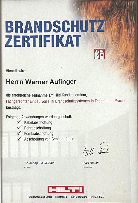 Brandschutz Zertifikat von Werner Aufinger - Elektriker Peißenberg