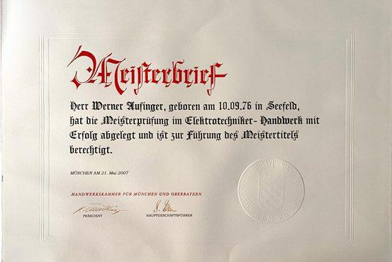 Meisterbrief von Werner Aufinger – Aufinger Elektrotechnik Peißenberg